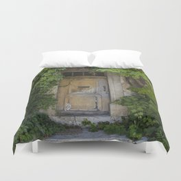 Provence Door covered with green vines Duvet Cover