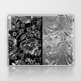 Metallic Silver Vintage Damasks Pattern Laptop & iPad Skin