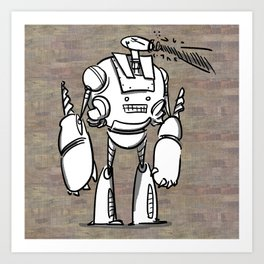 Happy Robot and his Blaster Art Print