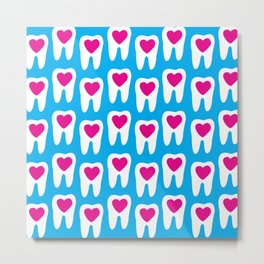 Teeth pattern with hearts in the center on blue background Metal Print
