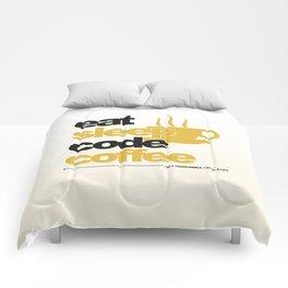 Programmer - eat sleep code coffee Comforters