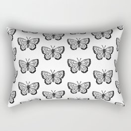 Linocut butterflies carving black and white minimal animal nature insects botanical pattern Rectangular Pillow