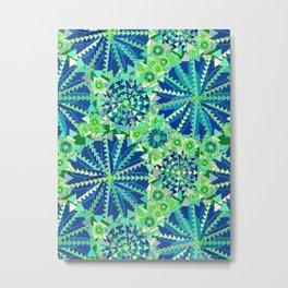 Tribal Mandala Print, Cobalt Blue and Green Metal Print