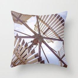 Sectional Windmill Detail Batavia Illinois Vintage Antique Wind Engine Throw Pillow