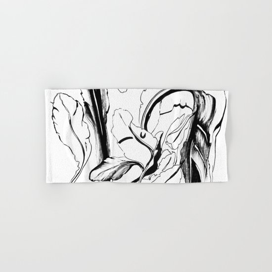 Plant in Blue Marker - Leaf of Life Miracle Leaf - Black and White Hand & Bath Towel