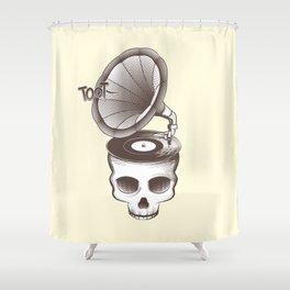 Tootin' Skull (Cream) Shower Curtain