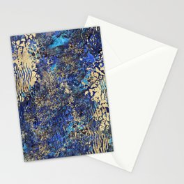 Blue Gold Animal Print Stationery Cards