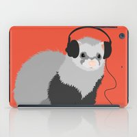 ferret iPad Cases featuring Music Loving Ferret by Boriana Giormova