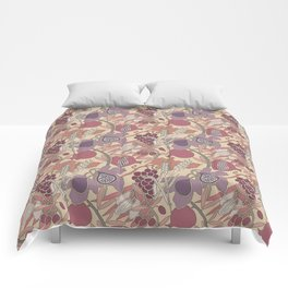 Seven Species Botanical Fruit and Grain in Mauve Tones Comforters