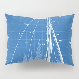 Sailboat Patent - Yacht Art - Blueprint Pillow Sham