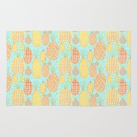 pineapples Area & Throw Rugs featuring Pineapples by stephstilwell
