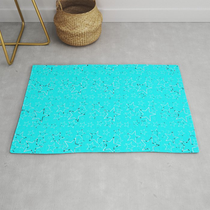 Stars Gradient Black White Turquoise Rug By Skycycle