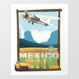 Mexico Desert vintage style travel Art Print