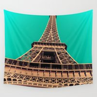 eiffel tower Wall Tapestries featuring Eiffel Tower by A/B Photography