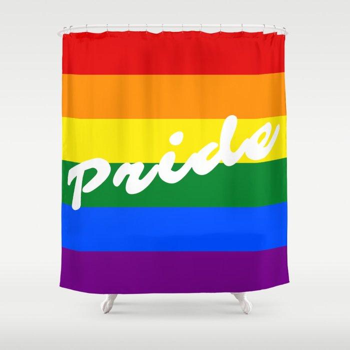 Pride Script Typography Logo LGBT Gay Rainbow Flag Shower Curtain By Lgbtlove