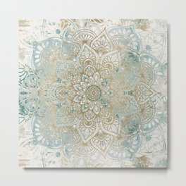Mandala Flower, Teal and Gold, Floral Prints Metal Print