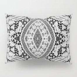 Elegant Black White Floral Lace Damask Pattern Pillow Sham