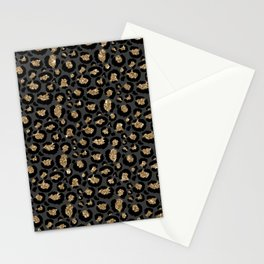 Black Gold Leopard Print Pattern Stationery Cards