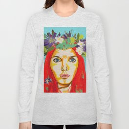 Red haired girl with flowers in her hair Long Sleeve T-shirt