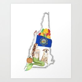 New Hampshire Mermaid Art Print