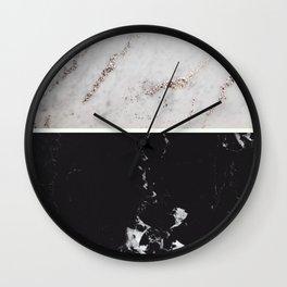 White Glitter Marble & Black Marble #1 #decor #art #society6 Wall Clock