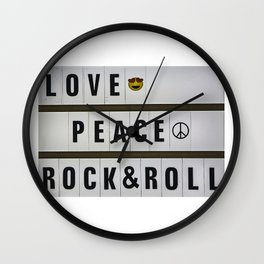 Love, Peace and Rock and Roll Wall Clock