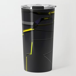Black fractured surface with yellow glowing lines Travel Mug