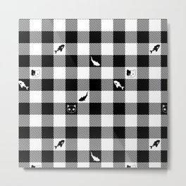 Black and White Checkered Animals Metal Print