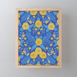 Bright Blue & Yellow Flowers Framed Mini Art Print
