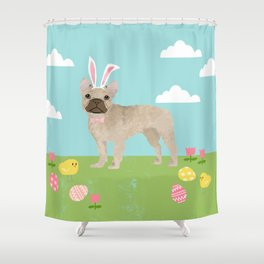 French Bulldog easter spring dog breed gifts pure breed frenchies portrait Shower Curtain
