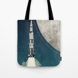 Apollo Rocket Launch to the Moon Tote Bag
