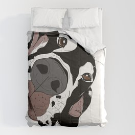 Great Dane In Your Face (harlequin) Comforters