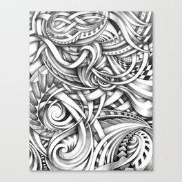 Escher Like Abstract Hand Drawn Graphite Gray Depth Canvas Print