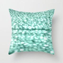 Mint Glitter Sparkles Throw Pillow