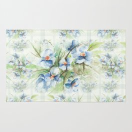 Blue floral watercolor Rug