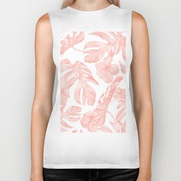 Tropical Palm Leaves Hibiscus Flowers Coral Pink Biker Tank