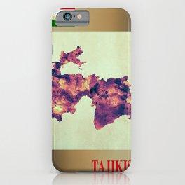 Tajikistan Map with Flag iPhone Case