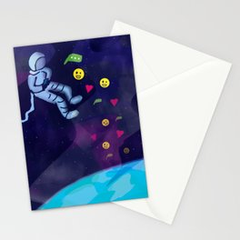 Astronaut in Space On Internet Using Social Media Stationery Cards