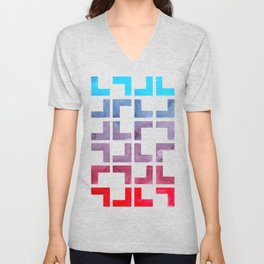 Cerulean Blue Purple Red Watercolor Gouache Geometric Painting On Black Background Bright Contrast Unisex V-Neck