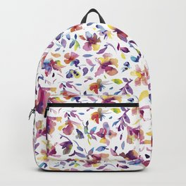 watery hibiscus flowers - Multicolored tropical pattern Backpack