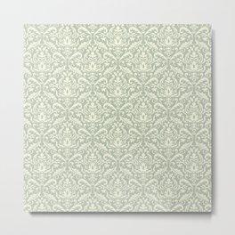Grey Vintage Damask pattern Metal Print
