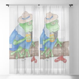 Relaxed Green Frog Sheer Curtain