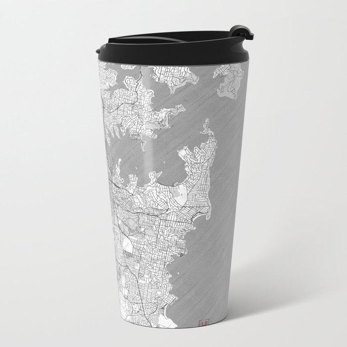 Sydney Map Line Metal Travel Mug