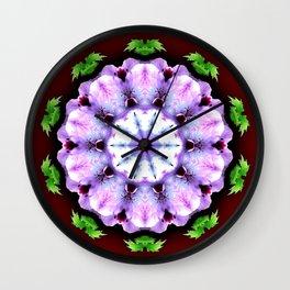 Purple White Flower on Burgundy Wall Clock