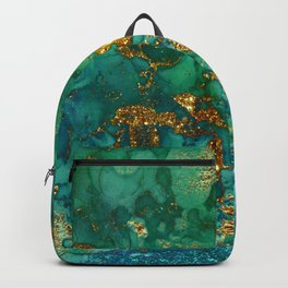 Malachite and Gold Glitter Stone Ink Abstract Gem Glamour Marble Backpack