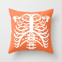 Human Rib Cage Pattern Orange 2 Throw Pillow