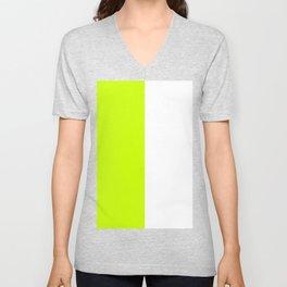 White and Fluorescent Yellow Vertical Halves Unisex V-Neck