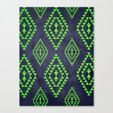 Navy & Lime tribal inspired print Canvas Print