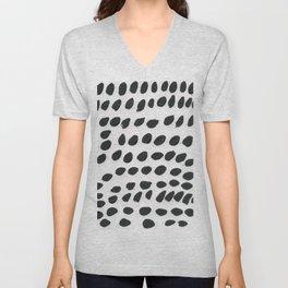 Black polka pattern Unisex V-Neck