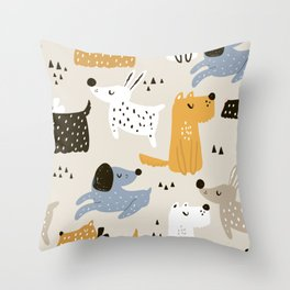 Sleepy dogs. Cute dog hand drawn illustration pattern in scandinavian style Throw Pillow